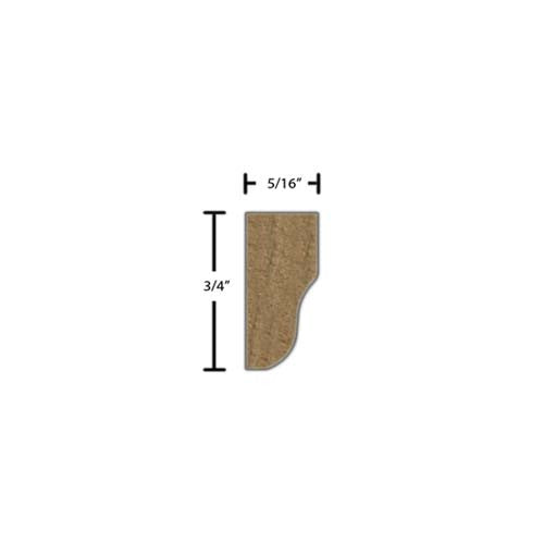 "Side View of Decorative Embossed Molding, product number DE-024-010-2-WA - 5/16"" x 3/4"" Walnut Decorative Embossed Molding - $2.72/ft sold by American Wood Moldings"