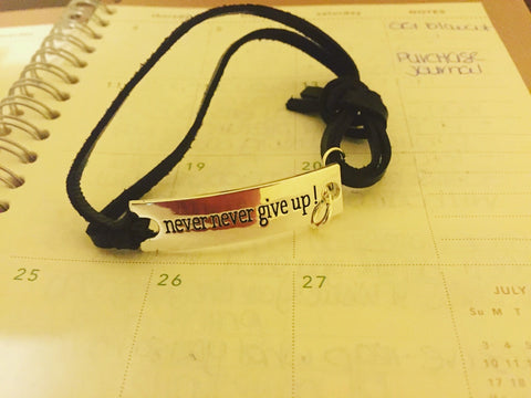 Inspirational bracelets leather-never never never give up-inspirational jewelry for difficult times