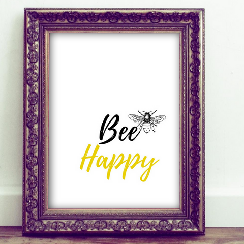 Inspirational Quote Printable, Wall Art Printable, Bee happy, be happy, quote art, inspirational print art