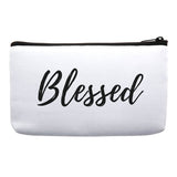Blessed Bag, Inspirational Accessories, Makeup Bag, Cosmetic Bag, Travel Bag with Words, gift ideas for christian women's conference, gift ideas for bible study ladies b