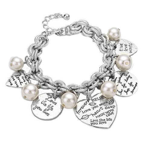 Heart Charm Bracelet, Inspirational Jewelry, Message Bracelets, Quote Jewelry, Inspired Jewelry