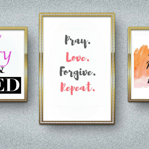 Pray Love Forgive Repeat Inspirational Quote, Printable Quotem Wall Decor Art