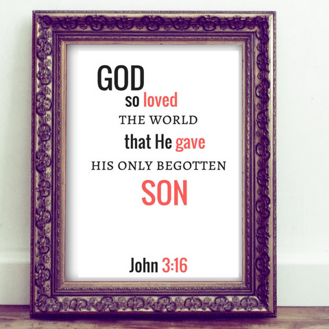 John 3:16 Bible Verse Quote Print Wall Art Home Decor Printable Christian Art Graphic Design House Gift