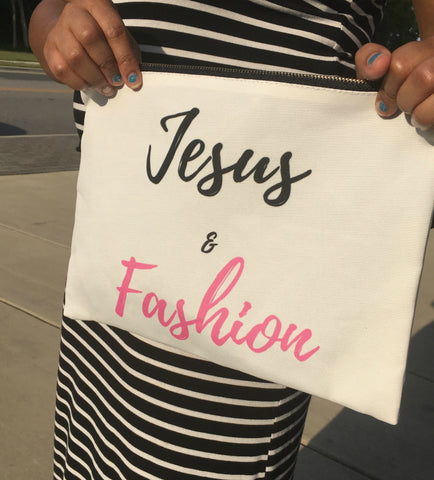 Jesus and Fashion-Canvas Clutch Bag, Clutch Bags with Words and Sayings Blessed Clutch Bag Christian Accessories, Christian fashionista, Christian gifts for college students, Christain Gifts for Women