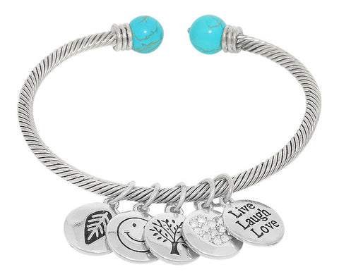 Live Laugh Love Cuff Charm Bracelet - Flaunt Ya Faith