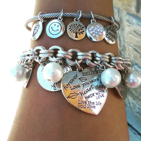 charm bracelets quotes, Heart Charm Bracelet, Motivational Stack Bracelets, Inspirational Jewelry, Quote Jewelry