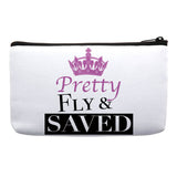 Faith and fashion, jesus and fashion, faith fashionista, christian fashionista, Pretty Fly and Saved Bag, Inspirational Accessories, Makeup Bag, Cosmetic Bag, Travel Bag with Words gift ideas for bible study ladies