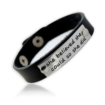 She Believed She Could So she did leather bracelet, inspirational quotes on leather bracelets,