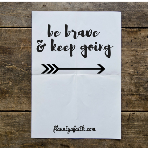 Be Brave & Keep Going Inspirational Quote Printable Wall Art
