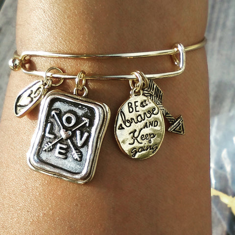 Inspirational Jewelry for Cancer patients-Inspirational Jewelry for athletes-be brave and keep going bangle