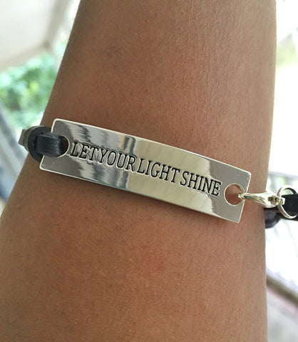 Christian Jewelry-Let Your Light Shine Bracelet, Inspirational Jewelry, religious quotes bracelets, bracelet with writing, quote bracelets, Jewelry with quotes on them, leather bracelet with bible verse , bracelets with scripture verses, leather bracelet with scripture, Christian gifts for college students, Christian gifts for nurses, christian gifts for ladies, inspirational jewelry gifts for the day
