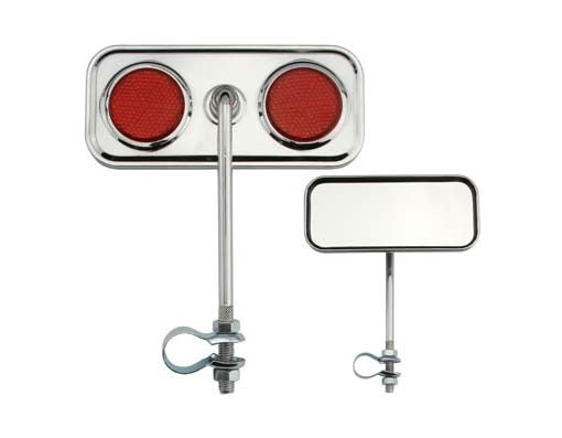 Rectangle Mirror Chrome Red Reflectors
