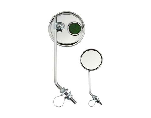 Round Mirror Chrome Green Reflectors.