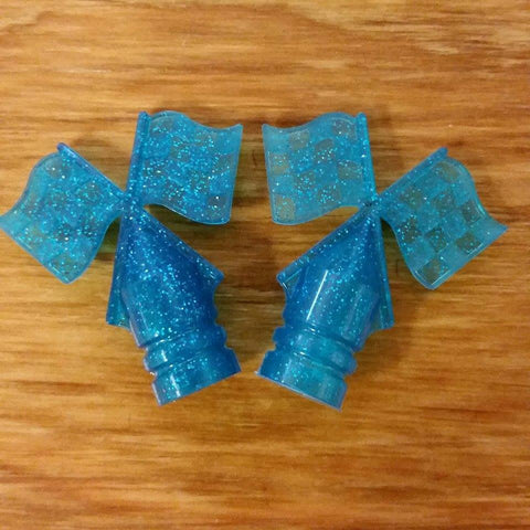 SCHWINN TIRE FLAG VALVE CAPS GLITTER BLUE FOR SCHWINN STINGRAY AND OTHERS