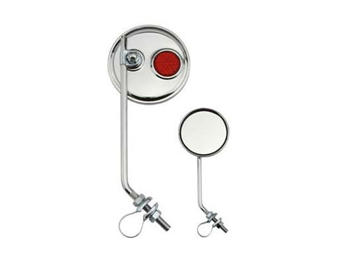 Round Mirror Chrome Red Reflectors.
