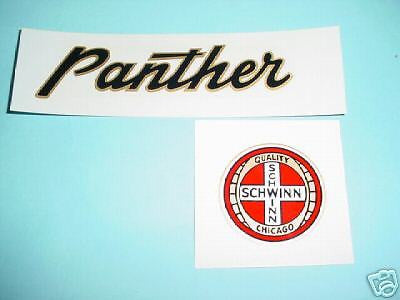 SCHWINN PANTHER CHAIN GUARD  DECAL  SET AUTHENTIC ITEM