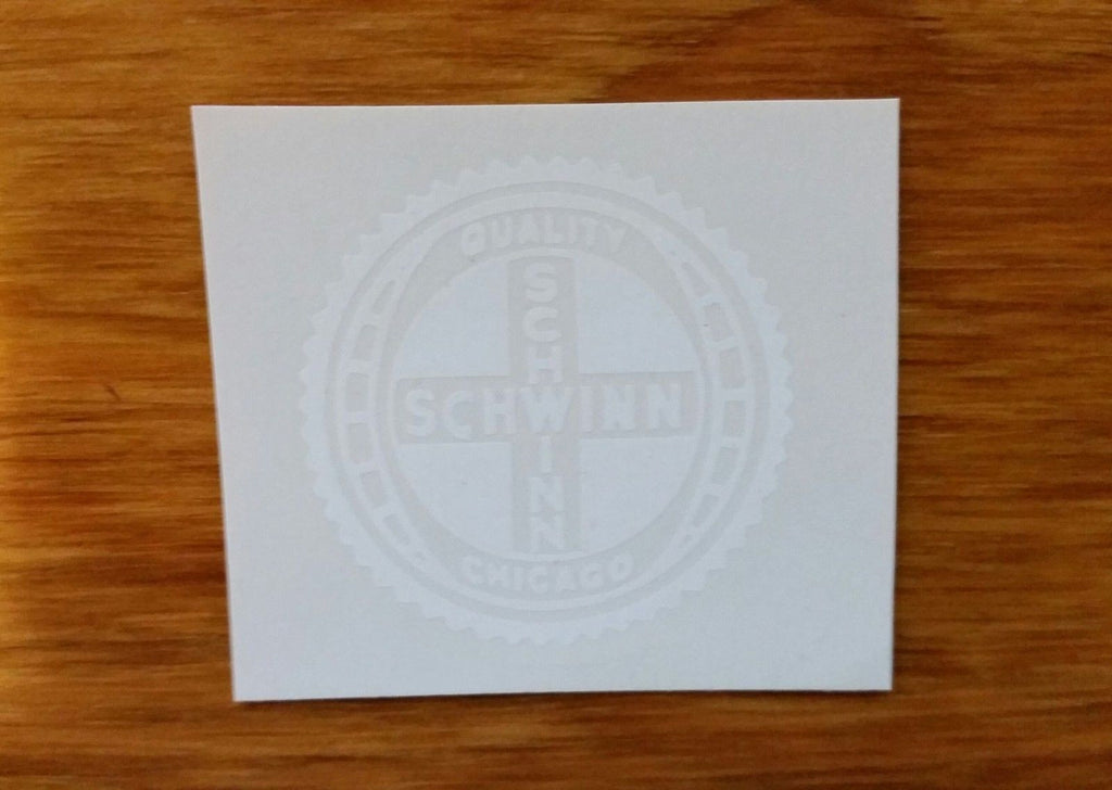 SCHWINN DECAL CHICAGO OLDER TYPE WHITE