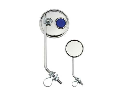 Round Mirror Chrome Blue Reflectors.