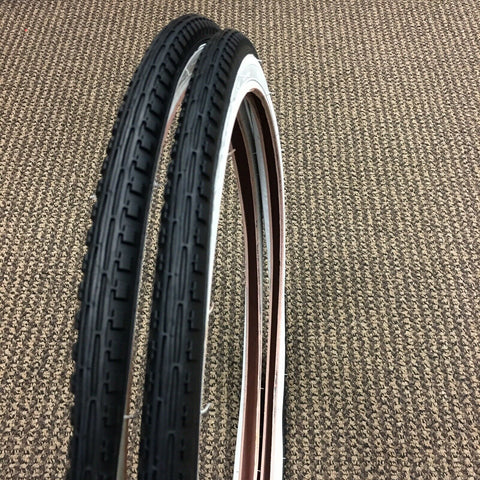 SCHWINN STING-RAY FASTBACK BICYCLE TIRES 20 X 1 3/8 WHITE WALLS NOS