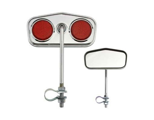 Diamond Mirror Chrome Red Reflectors