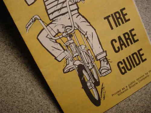 SCHWINN BICYCLE TIRE CARE GUIDE DATED 1972 STINGRAY BIKES & OTHERS  NOS