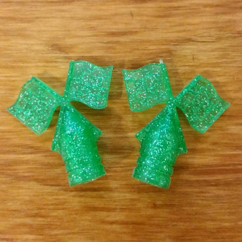 SCHWINN TIRE FLAG VALVE CAPS GLITTER SHAMROCK GREEN FOR PEA PICKER AND OTHERS