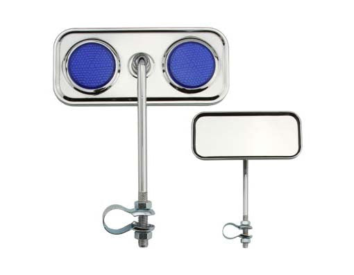 Rectangle Mirror Chrome Blue Reflectors