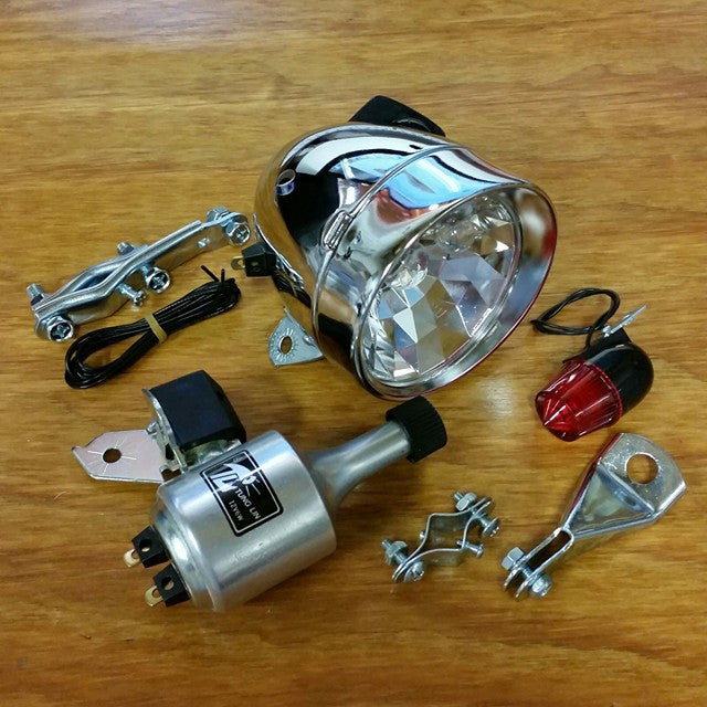 BICYCLE GENERATOR LIGHT COMPLETE SET FIT SCHWINN OTHERS FRONT & REAR TAIL LIGHT