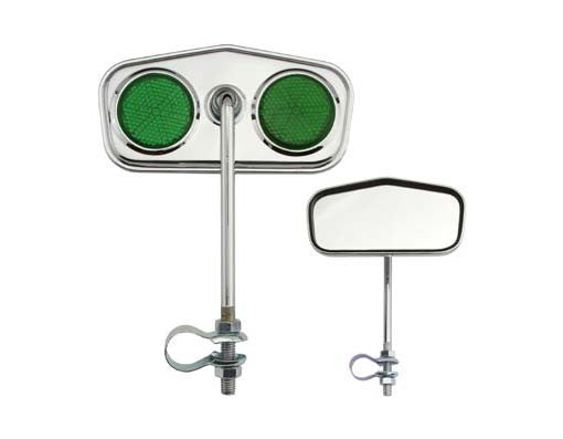 Diamond Mirror Chrome Green Reflectors