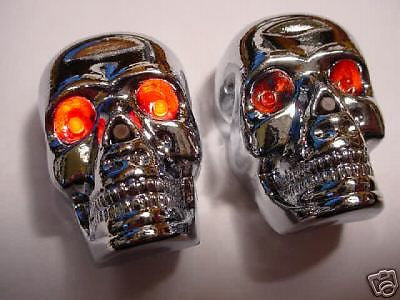BICYCLE HANDLE BAR END LIGHTS SKULL  LED EYES LIGHT UP