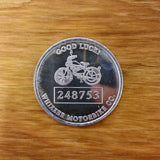 SCHWINN GOOD LUCK WHIZZER MOTOR BIKE METAL TOKEN GENUINE ORIGINAL ITEM