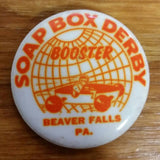 SOAP BOX DERBY CAR BUTTON PIN BADGE VINTAGE NOS
