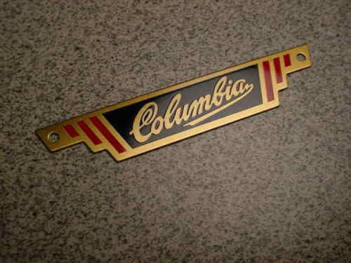 COLUMBIA BICYCLE REAR RACK BADGE NAME PLATE BRASS 1941 FIVE STAR BIKES OTHERS