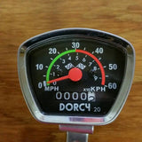BICYCLE SPEEDOMETER WITH BRACKET DORCY RACING FLAG VINTAGE NOS