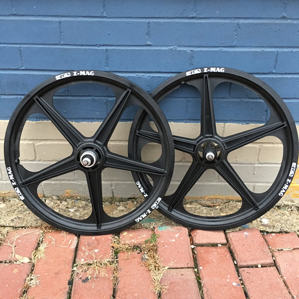 "ACS Z-MAG 5 SPOKE MAG BMX WHEELS BLACK 20"" SET FREEWHEELS"