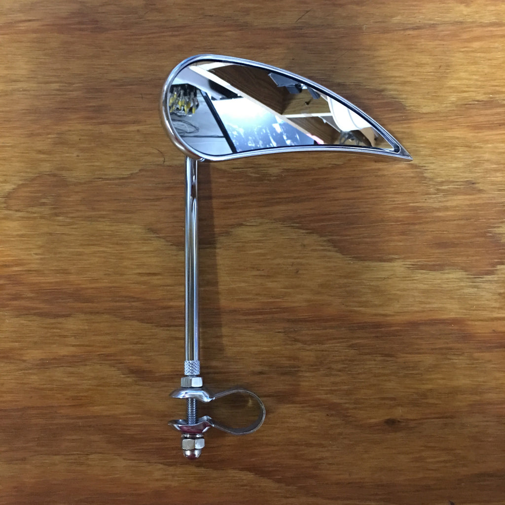 BICYCLE MIRROR TEAR DROP BLADE MIRROR RIGHT CHROME QUALITY CUSTOM FITS ALL