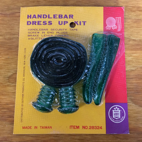 MUSCLE BIKE BAR TAPE PLUGS LEVER COVERS GREEN GLITTER NOS VINTAGE