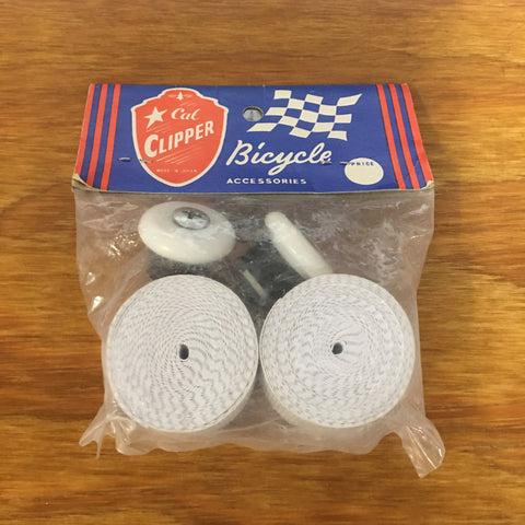 BICYCLE HANDLE BAR TAPE & PLUGS WHITE FOR SCHWINN & OTHERS