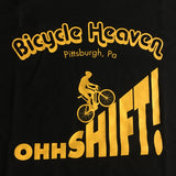 BICYCLE HEAVEN OHH SHIFT T-SHIRT BLACK WITH GOLD LETTERING