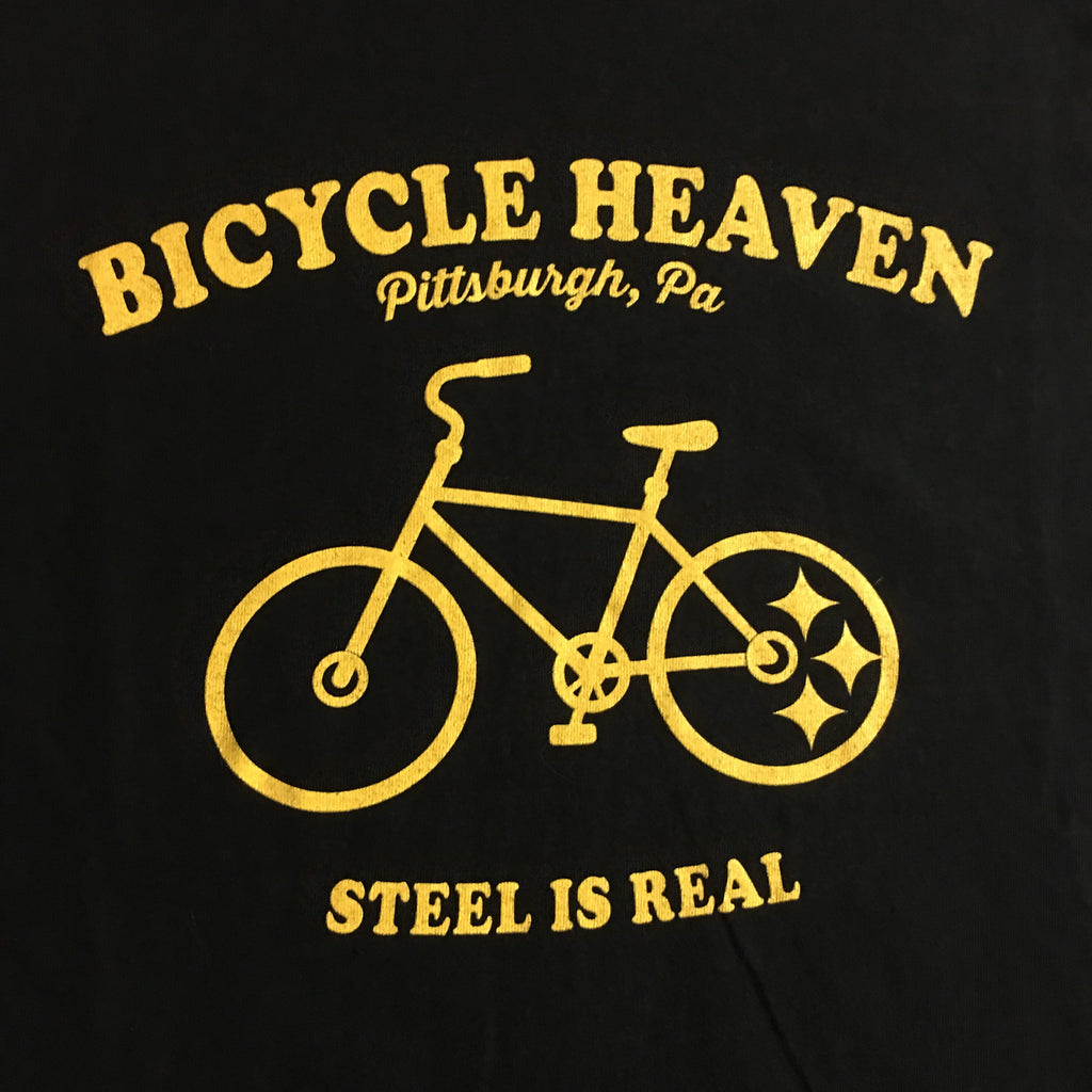 BICYCLE HEAVEN STEEL IS REAL T-SHIRT BLACK WITH GOLD LETTERING