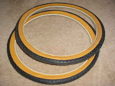 BICYCLE TIRES 16 X 1 3/8  GUM WALLS STREET TREAD FIT SCHWINN RALEIGH NOS