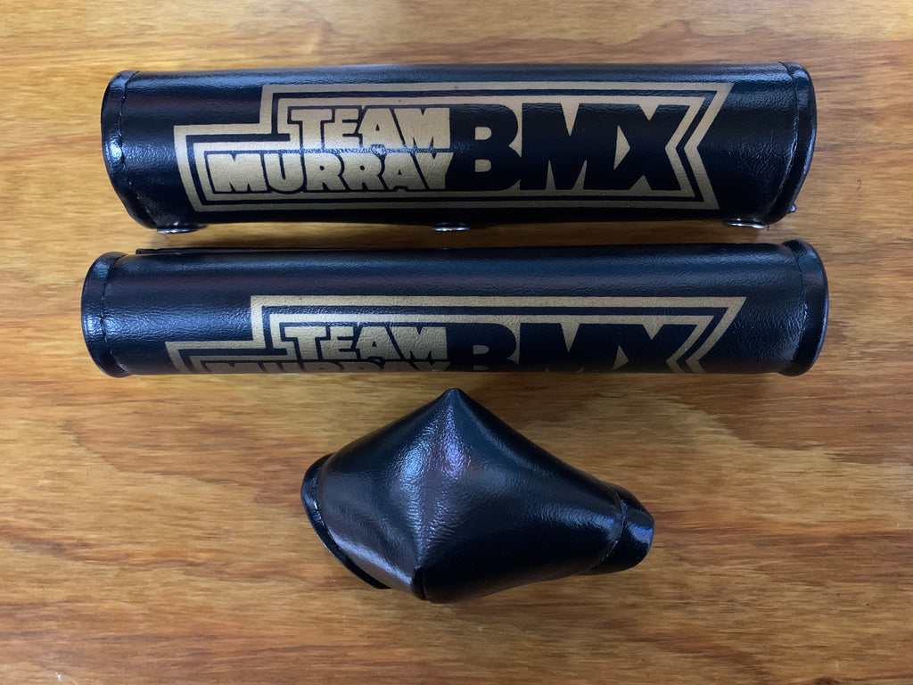 BMX RACING PADS BLACK & GOLD / TAN OLD SCHOOL NOS VINTAGE