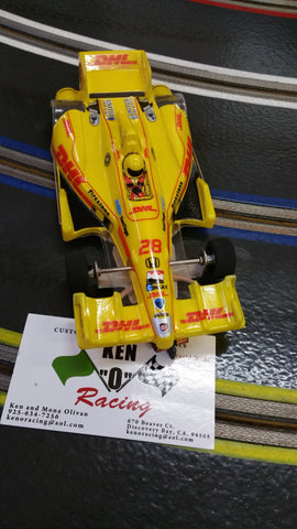 JK 2081721 Yellow #28 DHL RTR Indy Car Open Wheels With Hawk 7 Motor 64 P, 3/32 Axle