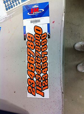 JK #20031O Orange 1/24 Scale Race Car Numbers Decal Set