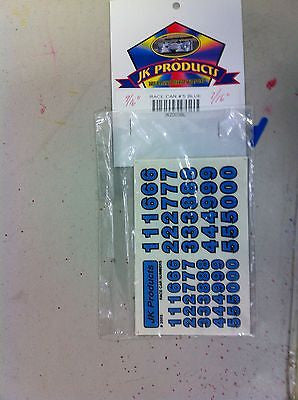 JK #2003B Blue 1/2 Inch And 3/8 Inch Race Car Numbers Decal Set