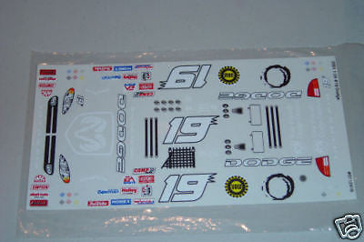 #19 DODGE Dealers NASCAR 1/24 SlotCar Vinyl Decal Set