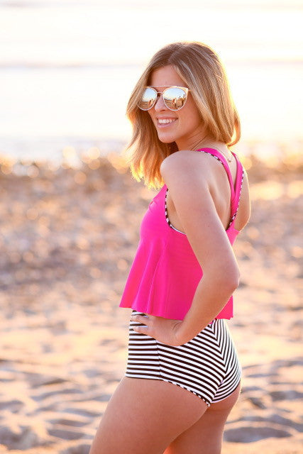 Fuchsia Short Flutter Top