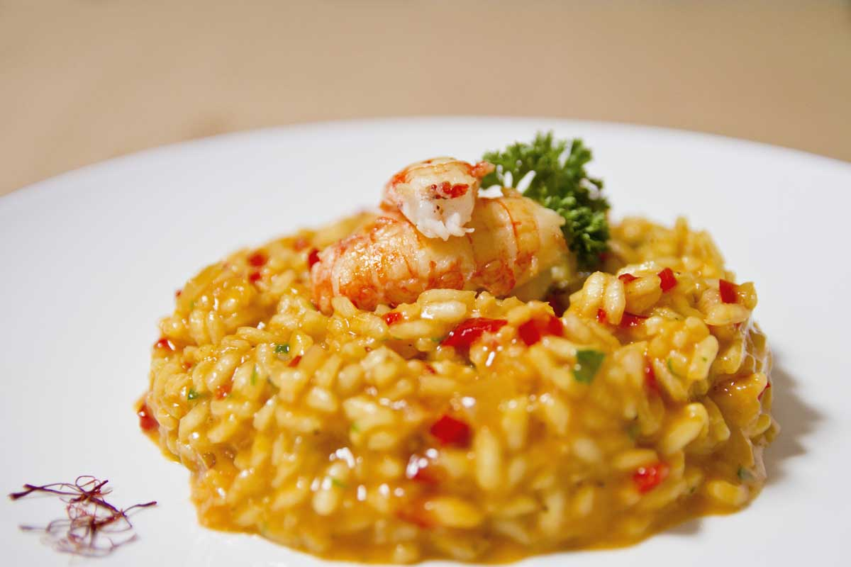 Arroz meloso con cigalas · sal y laurel