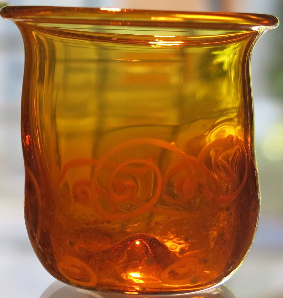 Amber hand made glass cup