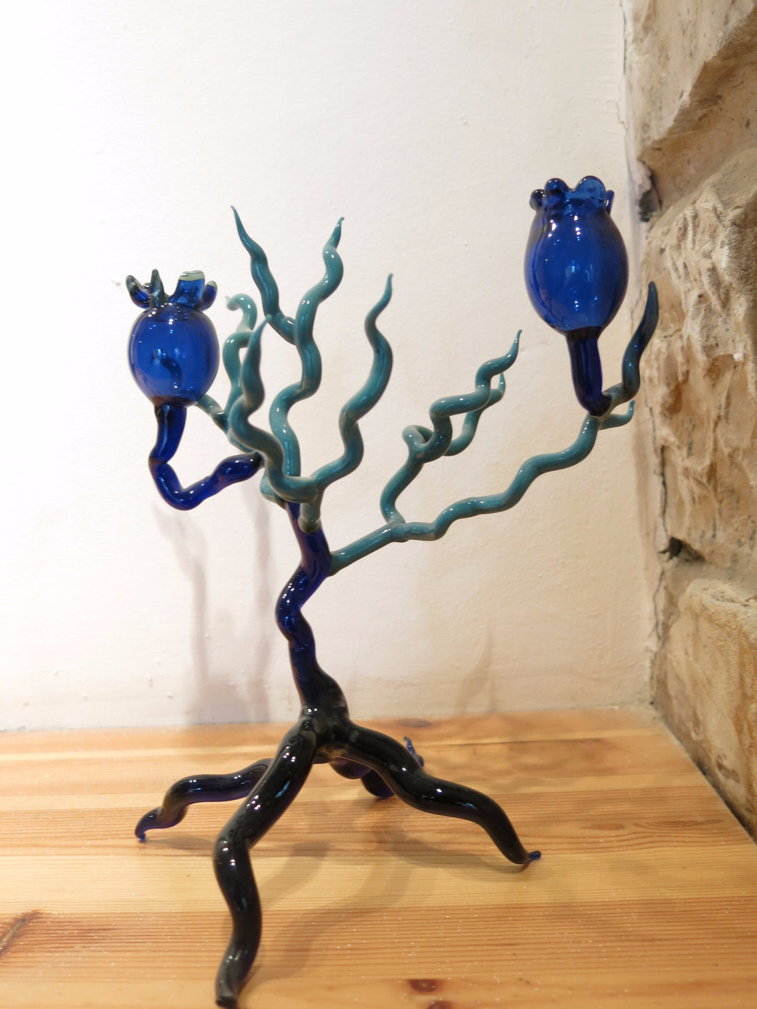 Blue Pomegranate Shabbat Candlesticks